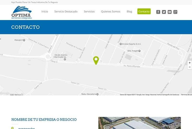Modelo Barcelona página de contacto