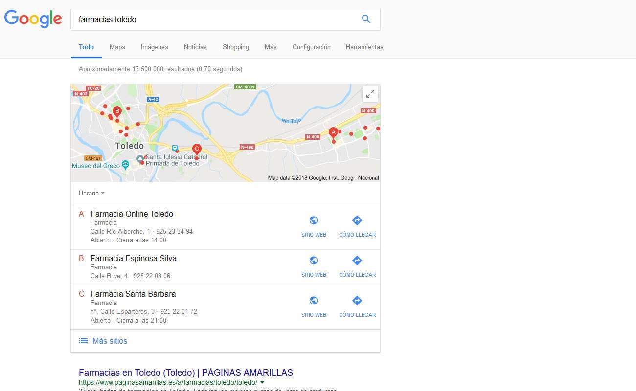 Google Maps en los resultados de búsqueda